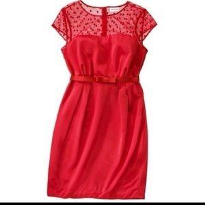 Kate Young Red Polka Dot Mesh Dress